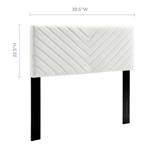 Modway - Alyson Angular Channel Tufted Performance Velvet Twin Headboard in White