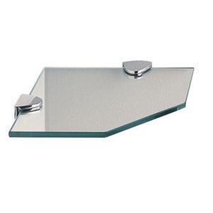 """Classic Glass Corner Shelf, Straight, 8"""""""