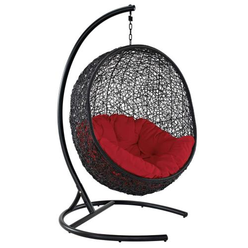 Encase Swing Outdoor Patio Lounge Chair in Red