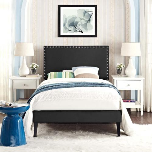 Macie Twin Vinyl Platform Bed with Squared Tapered Legs in Black