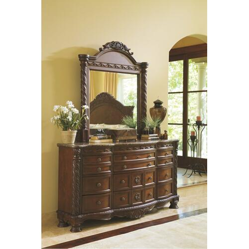 California King Poster Bed With Canopy With Mirrored Dresser, Chest and Nightstand