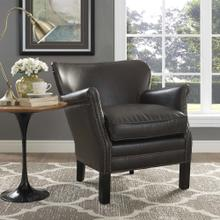 Key Upholstered Vinyl Armchair in Dark Brown