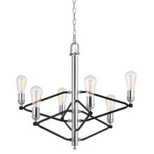 60W X 6 George 6 Light Metal Chandelier (Edison Bulbs Not included)