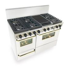 """See Details - 48"""" Dual Fuel, Convect, Self Clean, Sealed Burners, White with Brass"""