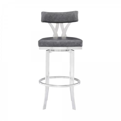 """Armen Living - Natalie Contemporary 30"""" Bar Height Barstool in Brushed Stainless Steel Finish and Vintage Grey Faux Leather"""