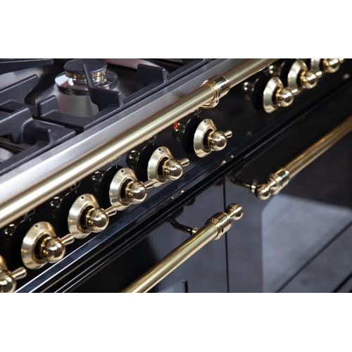 Nostalgie 60 Inch Dual Fuel Natural Gas Freestanding Range in Glossy Black with Brass Trim