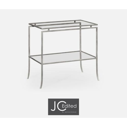Silver Iron Rectangular Side Table with A Clear Glass Top