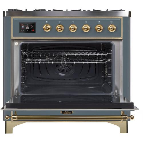 36 Inch Blue Grey Dual Fuel Natural Gas Freestanding Range