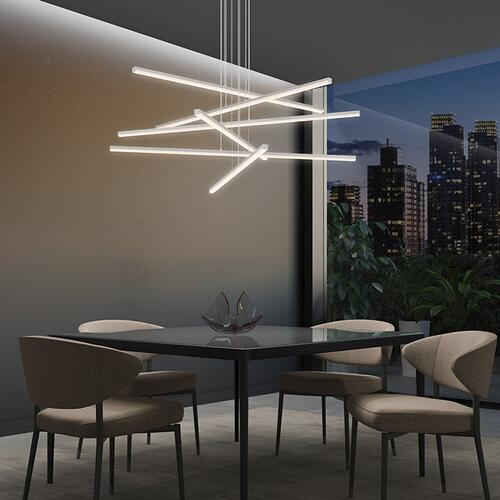 Sonneman - A Way of Light - Stix LED Pendant [Size=6-Arm, Color/Finish=Satin Black]