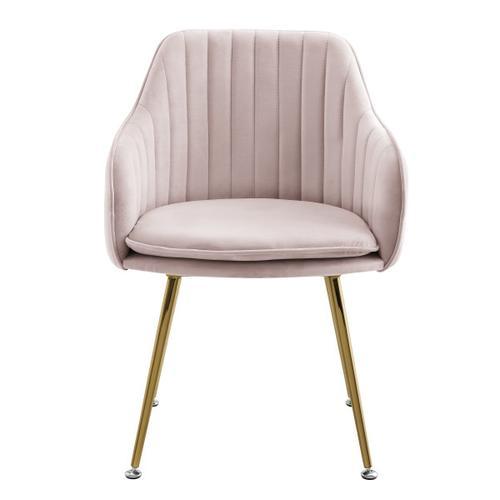 Metal Base Velvet Accent Chair