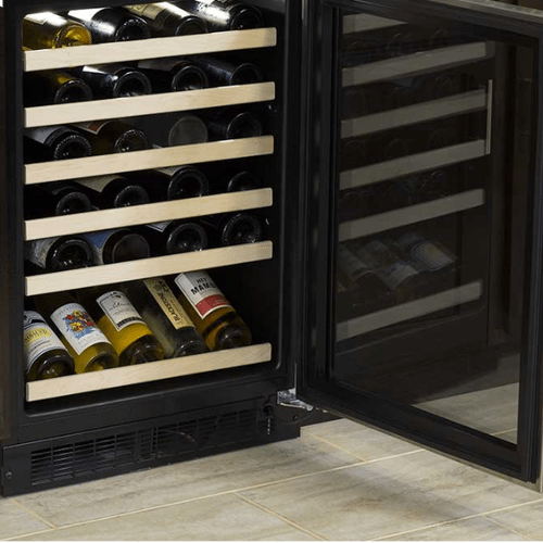 24-In Built-In High-Efficiency Single Zone Wine Refrigerator With Display Rack with Door Style - Stainless Steel Frame Glass
