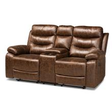 See Details - Baxton Studio Beasely Modern and Contemporary Distressed Brown Faux Leather Upholstered 2-Seater Reclining Loveseat