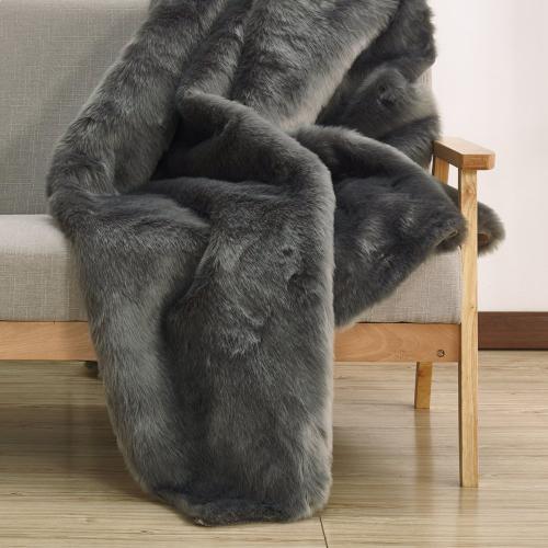 Luxury Soft Faux Fur Sheepskin Area Rug by Rug Factory Plus - 5' x 7' / Gray