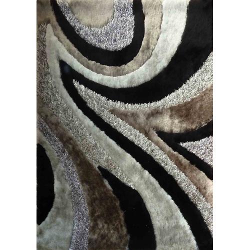 """Designer Shag S.V.D. 26 Area Rug by Rug Factory Plus - 4' x 5'4"""" / Black"""