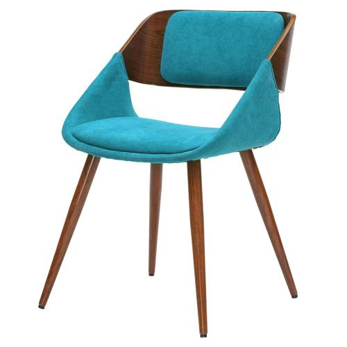 Cyprus KD Fabric Dining Side Chair, Santorini Teal/Walnut
