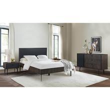See Details - Cross Dark Gray Solid Oak Queen 4 Piece Bedroom Set