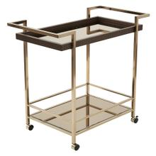 See Details - Isabella Wine Cart With Bronze Glass Top In Champagne Metal Frame
