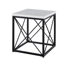 See Details - Skyler White Marble Top Square End Table Black 22x22x24
