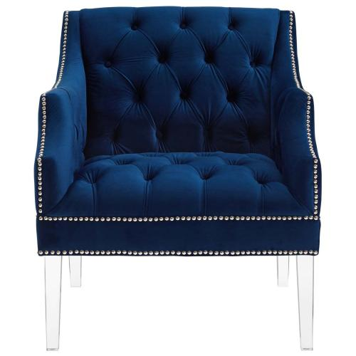 Proverbial Armchair Performance Velvet Set of 2 in Navy