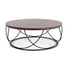 Modrest Strang Modern Walnut & Black Round Coffee Table