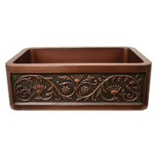"""See Details - Copperhaus 30"""" Rectangular Undermount Sink with a Sunflower Design Front Apron - Smooth Bronze"""