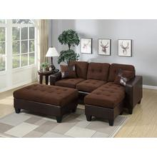 Larisa Sectional Sofa Set, Chocolate