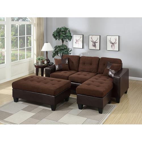 Updated Furniture - Larisa Sectional Sofa Set, Chocolate