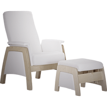 Urban style glider with thin seatback and square armrests.