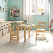 See Details - Kids Solid Hardwood Table and Chair Set for Playroom, Bedroom, Kitchen - 3 Piece Set - Natural