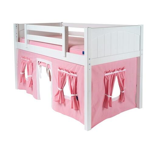 See Details - Under Bed Curtain : Soft Pink/White