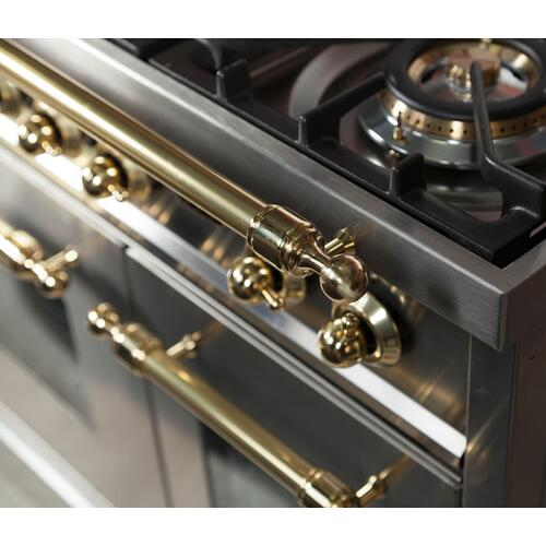 Nostalgie 48 Inch Dual Fuel Natural Gas Freestanding Range in Stainless Steel with Brass Trim