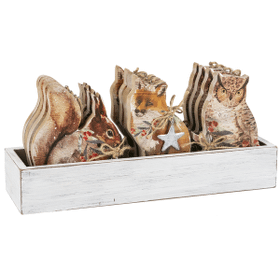 Woodland Christmas Ornaments in Crate (12 pc. ppk.)
