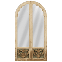 Distressed Ivory & Gold Double Arch Mirror
