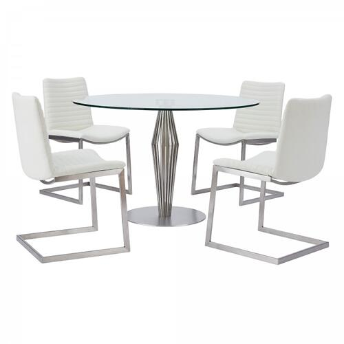 Lindsey Contemporary Dining Table in Brushed Stainless Steel Finish and Clear Glass top