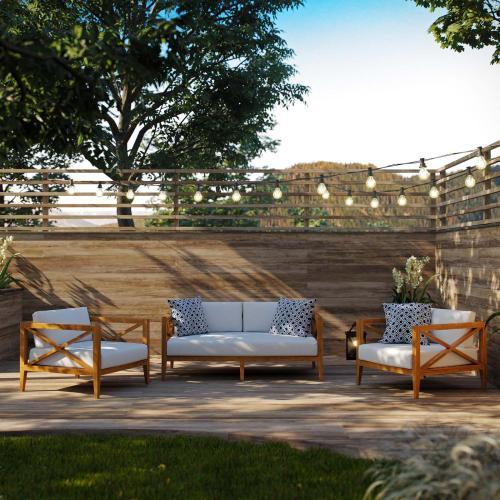 Northlake 3 Piece Outdoor Patio Premium Grade A Teak Wood Set in Natural White