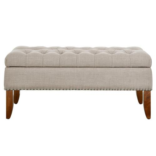 Beige Hinged Top Button Tufted Storage Bed Bench