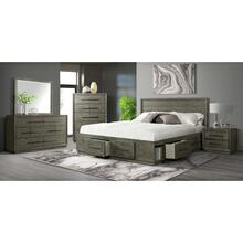 Elation Bedroom Set - Queen Four Drawer Storage Bed, Dresser, Mirror, Chest, ans Night Stand