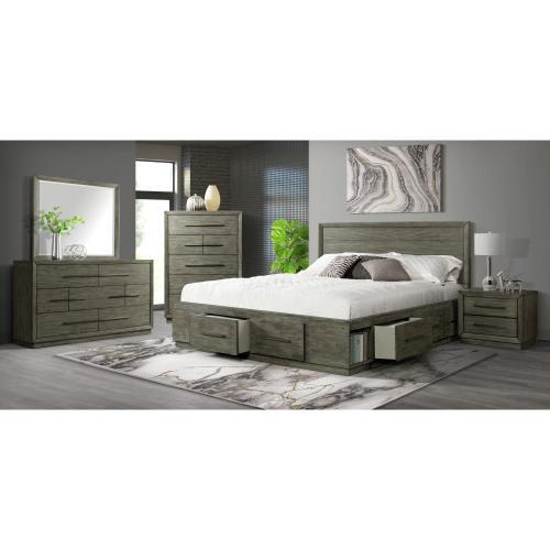 Elation Bedroom Set - Queen Four Drawer Storage Bed, Dresser, Mirror, Chest, ans Night Stand
