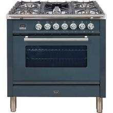 See Details - Professional Plus 36 Inch Gas Liquid Propane Freestanding Range in Blue Grey with Chrome Trim