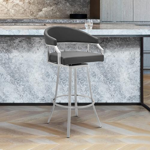 "Valerie 26"" Counter Height Swivel Barstool with Brushed Stainless Steel Finish and Grey Faux Leather"