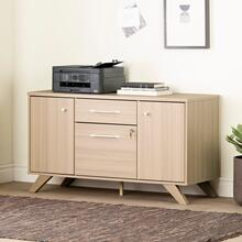 See Details - Helsy - 2-Drawer Credenza with Doors, Soft Elm