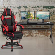 Gaming Desk with Cup Holder\/Headphone Hook\/Removable Mousepad Top & Red Reclining Back\/Arms Gaming Chair with Footrest