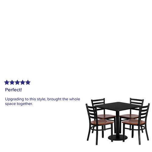 Flash Furniture - 30'' Square Black Laminate Table Set with 4 Ladder Back Metal Chairs - Cherry Wood Seat