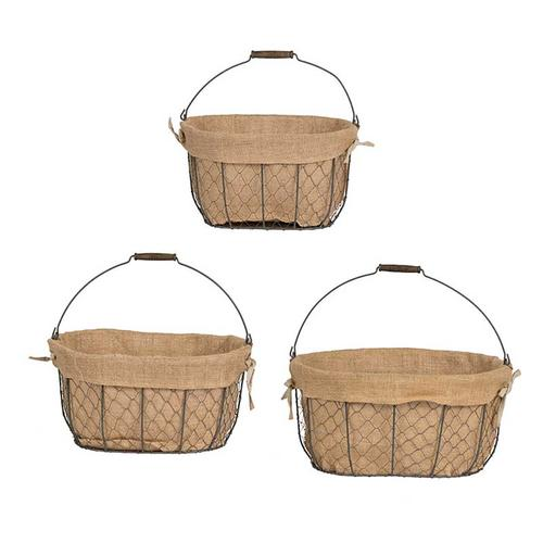 S/3 Joyce Baskets w/Canvas
