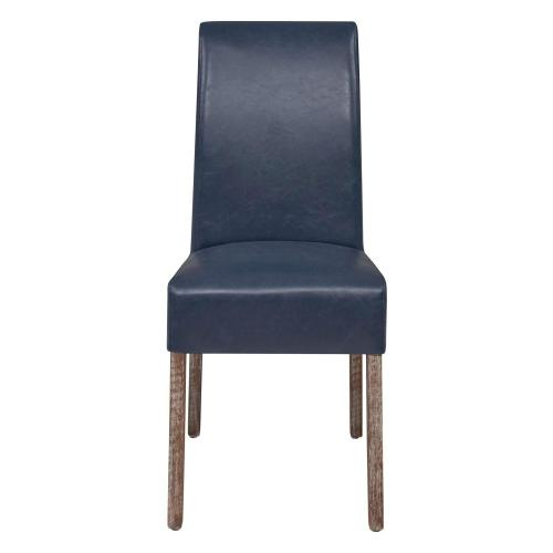 Valencia Bonded Leather Dining Side Chair Drift Wood Legs, Vintage Blue