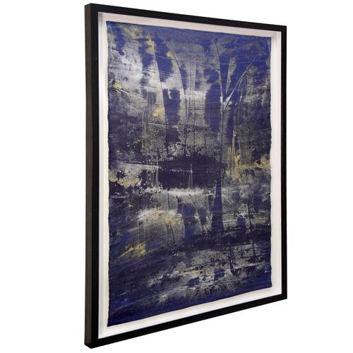 Style Craft - Lawrence Crane II  36in X 46in  Hand Painted Abstract on Water Color Paper  Framed Under Glass