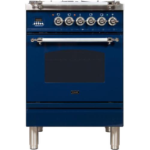 Nostalgie 24 Inch Dual Fuel Liquid Propane Freestanding Range in Blue with Chrome Trim