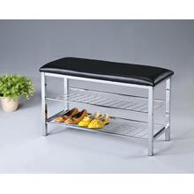 Product Image - Metal Shoe Bench with Faux Leather Seat, Chrome and Black