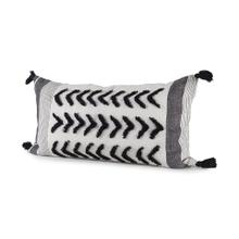 See Details - Kimia 14L x 26W White, Gray, and Black Fabric Herringbone and Fringed Decorative Pillow Cover