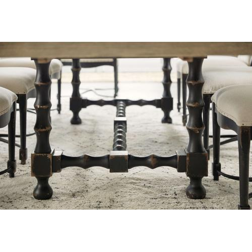Ciao Bella 84in Trestle Table w/ 2-18in Leaves-Flaky White/Black